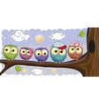 five owls is sitting on a brunch vector image vector image