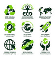 flat icon set for green eco planet vector image
