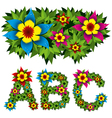 flowers alphabet 01 vector image