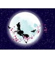 Flying Witch over Full Moon2 vector image vector image