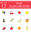 fruits line icon set organic vegetarian food vector image