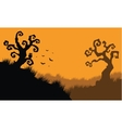 Halloween owl and bat at afternoon vector image vector image