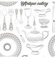 hand drawn antique silver cutlery set pattern vector image vector image