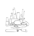 Hand drawn cosmetics collection vector image vector image