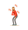 happy bearded man laughing out loud and holding vector image vector image