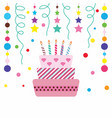 happy cake on white background vector image vector image