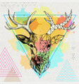 hipster animal realistic and polygonal deer vector image vector image