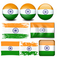 India flag on different objects vector image vector image