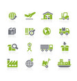 industry and logistics icons natura series vector image