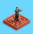 isometric businessman looks in a spyglass vector image vector image