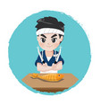 japanese chef with knife vector image vector image