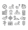 navigation and map line icons vector image
