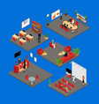 office interior set 3d isometric view vector image vector image
