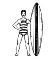 old fashioned surfer engraving style vector image vector image
