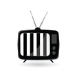 old tv ith black and white line vector image