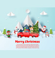 postcard christmas party with red truck vector image vector image