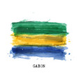 realistic watercolor painting flag gabon vector image vector image