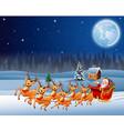 santa rides reindeer sleigh in christmas night vector image