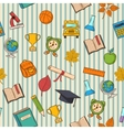 School pattern on striped bacground vector image vector image