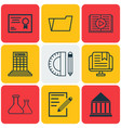 set of 9 school icons includes education center vector image