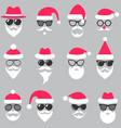 set of santa hats glasses and beards vector image vector image