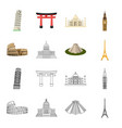 sights of different countries cartoonoutline vector image vector image