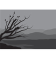 Silhouettes of spring tree on the lake vector image