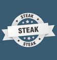 steak ribbon steak round white sign steak vector image vector image