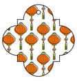 tag japanese lantern decoration pattern vector image