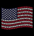 waving united states flag stylization of filled vector image