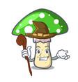 witch green amanita mushroom mascot cartoon vector image vector image