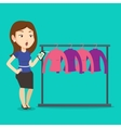 Woman shocked by price tag in clothing store vector image vector image