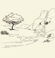 Tree near a mountain stream in the meadow vector image