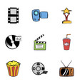 3d cinema icons set cartoon style vector image