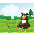 A brown bear sitting in the garden vector image vector image