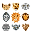 African Animals Stylized Geometric Heads Set vector image vector image