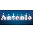 ANTONIO written with burning candles vector image vector image