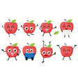 apple fruits cartoon character vector image vector image