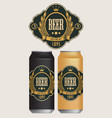 beer labels for two beer cans vector image vector image