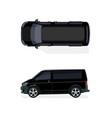 black minibus side view and top view volumetric vector image
