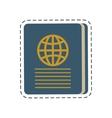 blue passport identification tourist cut line vector image vector image