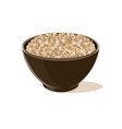 bowl full of brown lentils vector image vector image