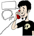 boy talking on a phone with empty speech bubbles vector image