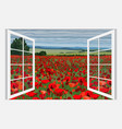 bright poppy field with bushes vector image vector image