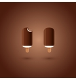 Chocolate and vanilla ice cream pops on brown vector image vector image