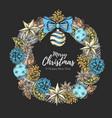 christmas holiday decorative wreath vector image