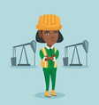 cnfident oil worker standing with crossed arms vector image vector image