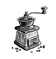 coffee grinder with beans isolated on white vector image vector image