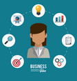 colorful poster of businesswoman with icons set vector image vector image