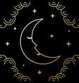 crescent moon line art style design vector image